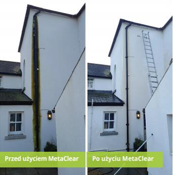 Efekt działania MetaClear na skraju elewacji